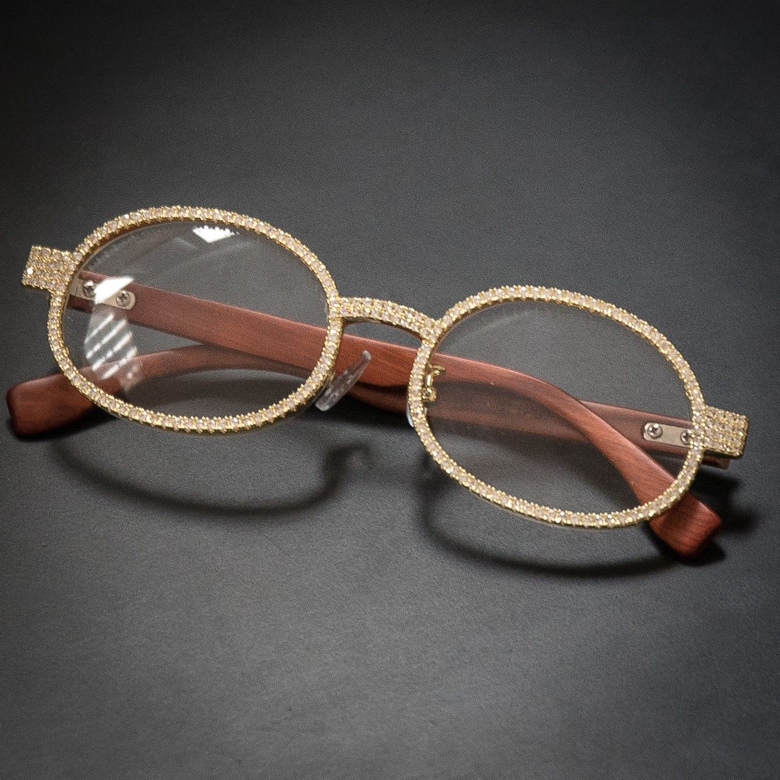 ed1db647a549 Silver Diamond Clear Lens Wood Frame Glasses on Storenvy