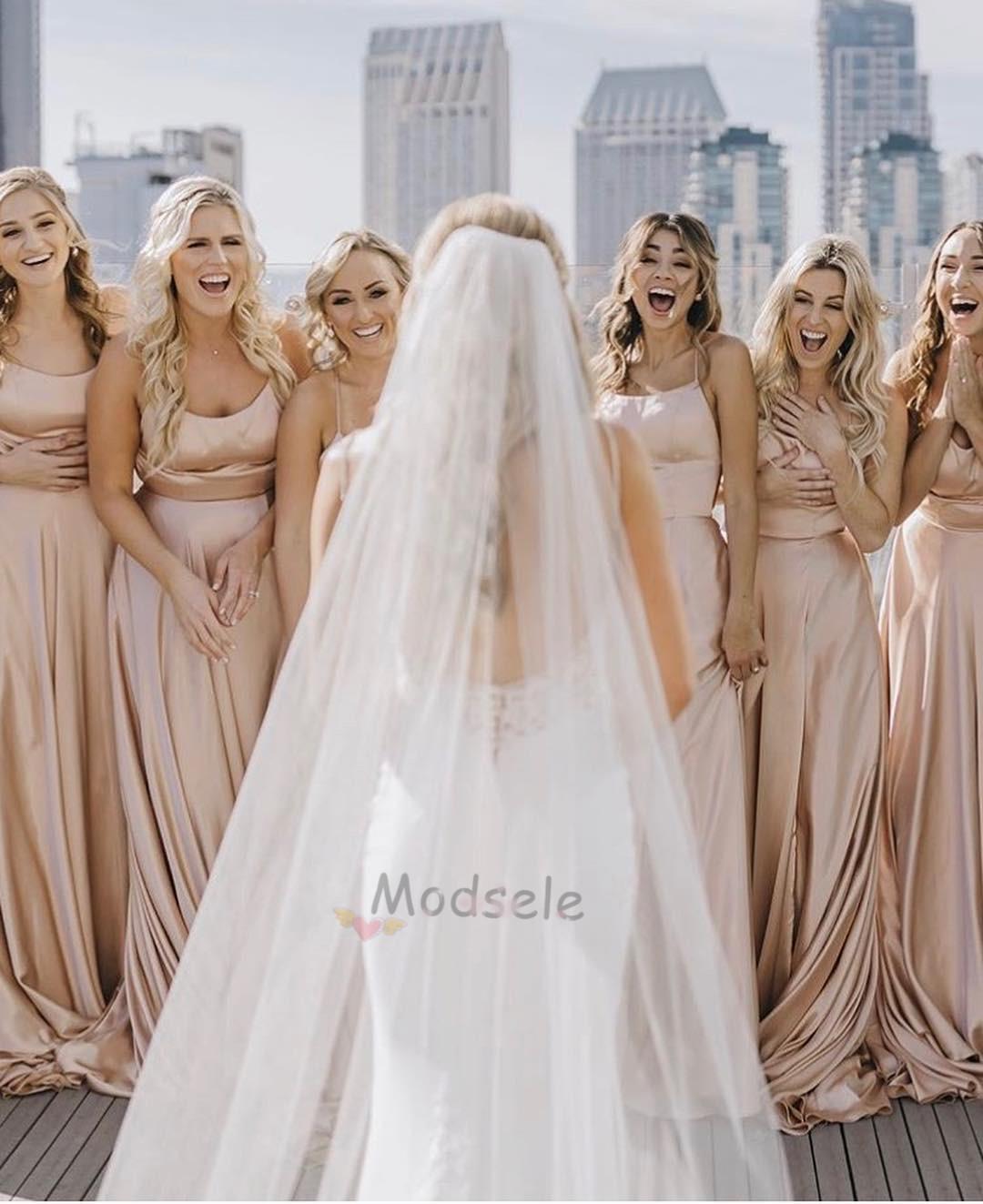 7e38a4ae046d Simple Peach Long Bridesmaid Dress · modsele · Online Store Powered ...