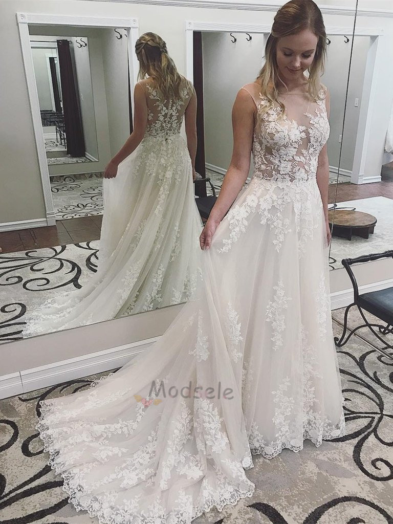 c650559b7b4e2 Romantic Ivory Long Wedding Dress with Lace Appliques · modsele ...