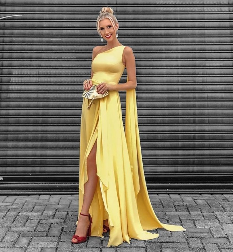 6c288218786 Yellow High Low Prom Dress One Shoulder Floating Sleeves High Split Formal  Evening Dresses Long Party