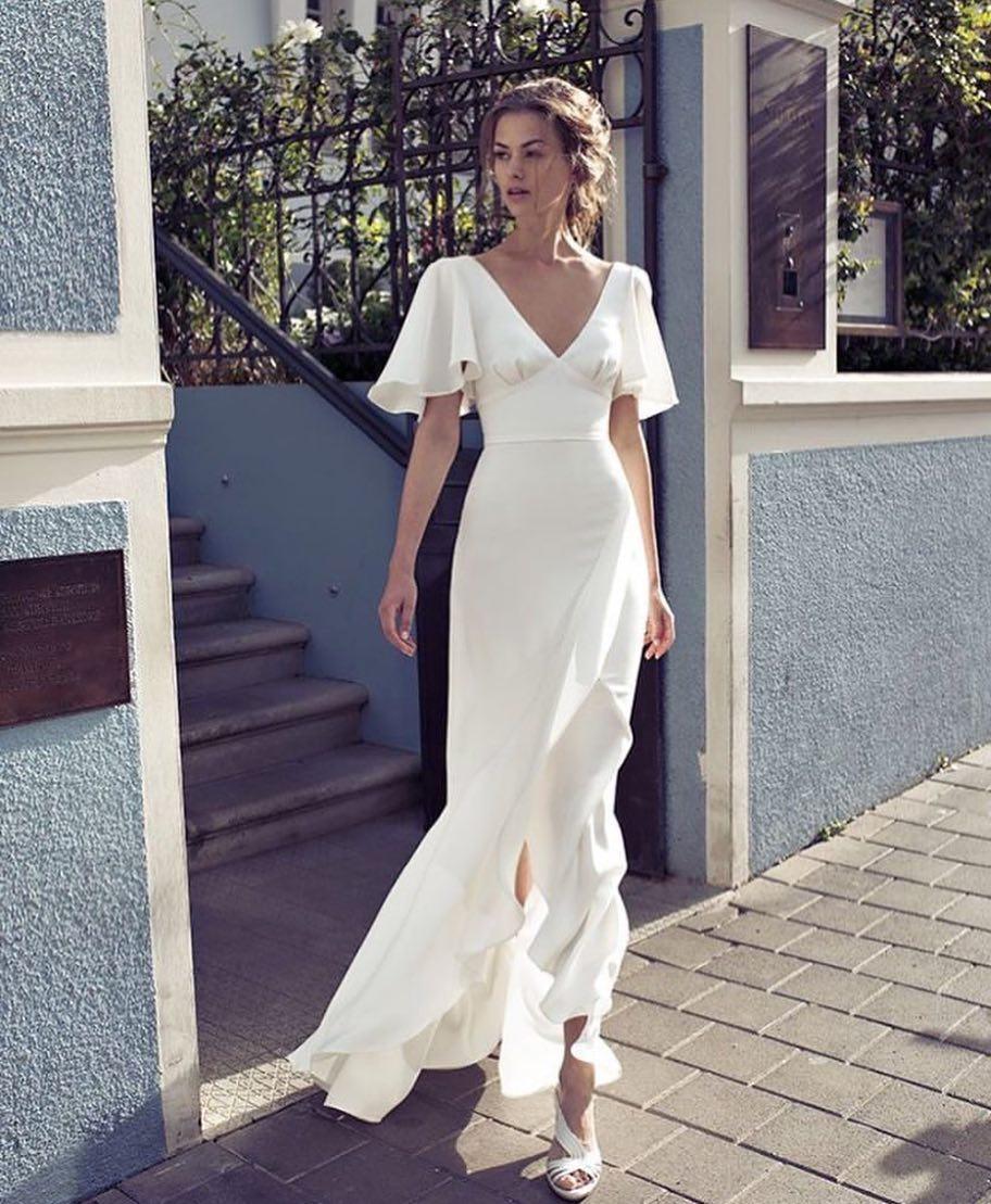235fdd1b4d1 Simple White Bohemian Wedding Dress Deep V Neck Floor Length Custom Bridal  Gowns