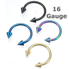 Golden Titanium Spike 16g Gauge 7 16 Horseshoe Circular Barbell