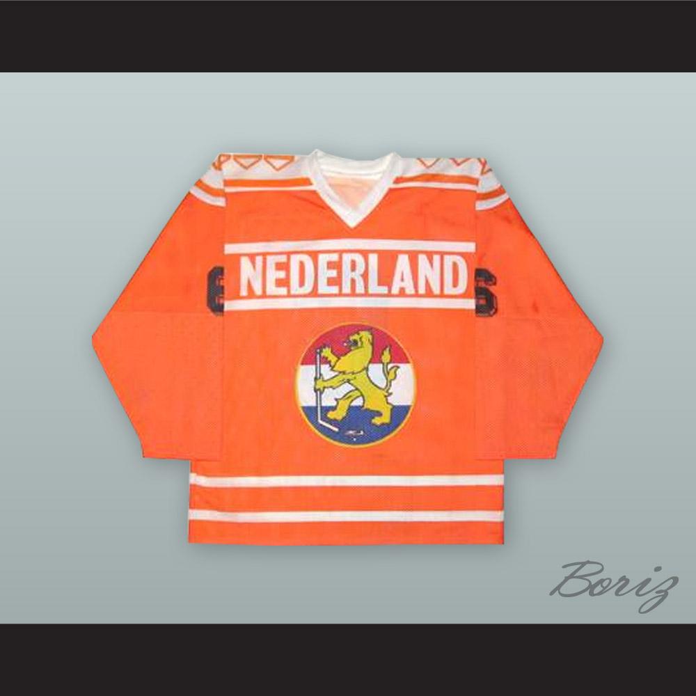 df653183d Frank Janssen 6 Netherlands National Team Orange Hockey Jersey ...