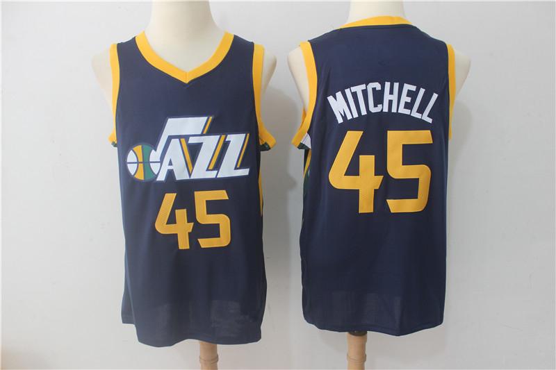 Men s Utah Jazz 45 Donovan Mitchell Navy Basketball Jersey · vsport ... 211c4f72a