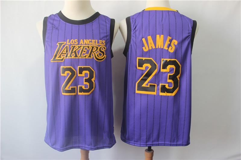 Men s Los Angeles Lakers 23 LeBron James Purple 2018 19 VaporKnit Jersey  City Edition c59d4c019