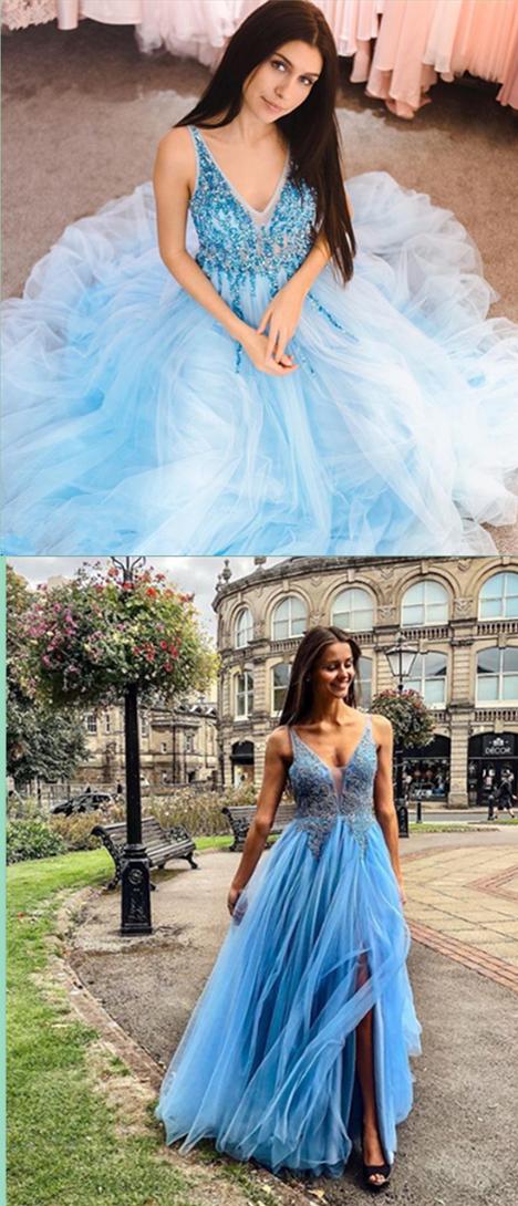 8c1a5af0dc7 2019 V-Neck Sky Blue Prom Dress with Beaded
