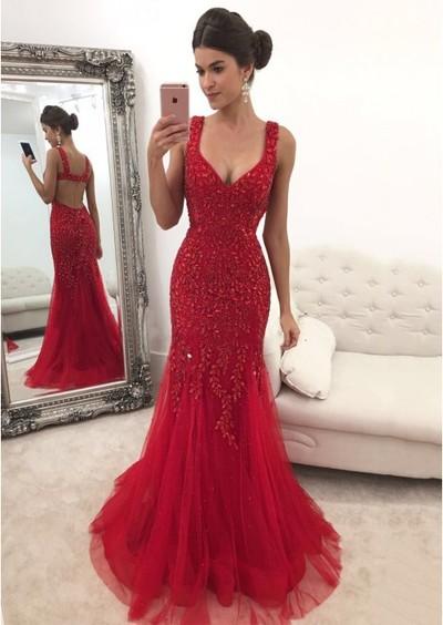 6c89b694f5 Red Rhinestone Long Mermaid Gorgeous Prom Dresses from SofieDress