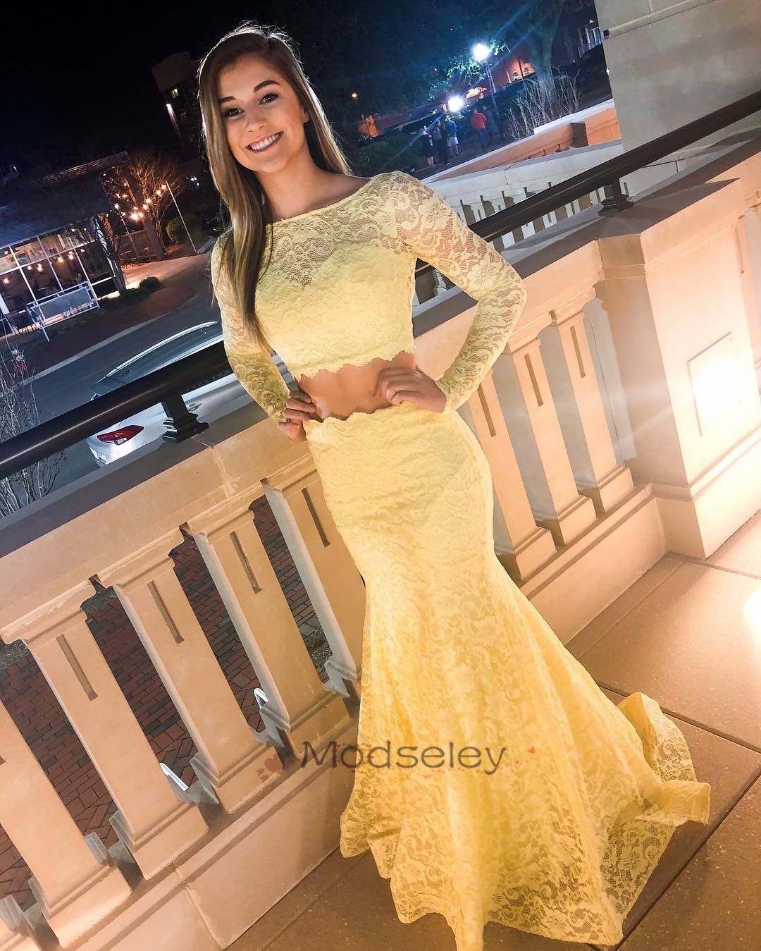 6f56902af82 Two Piece Yellow Lace Prom Dress with Long Sleeves · modseleystore ...