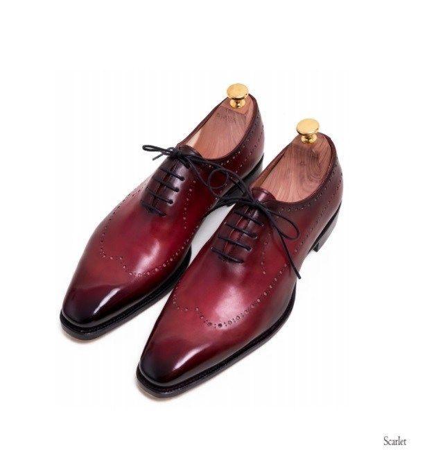 Handmade Men burgundy Brogue formal