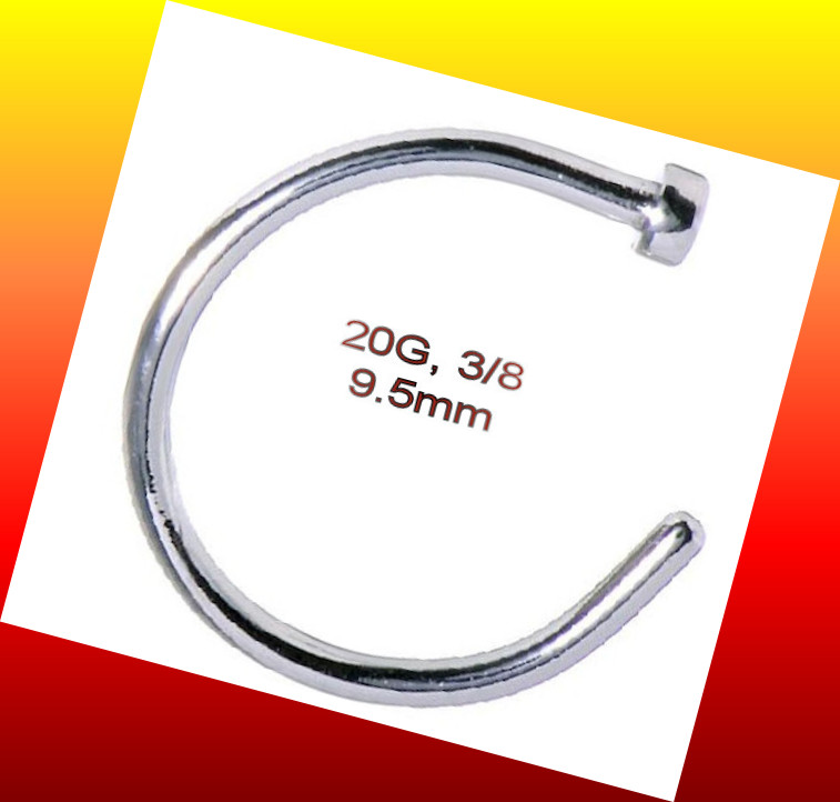 Clip On 20g Nose Ring Open Hoop Lip Earring Navel Ring Body