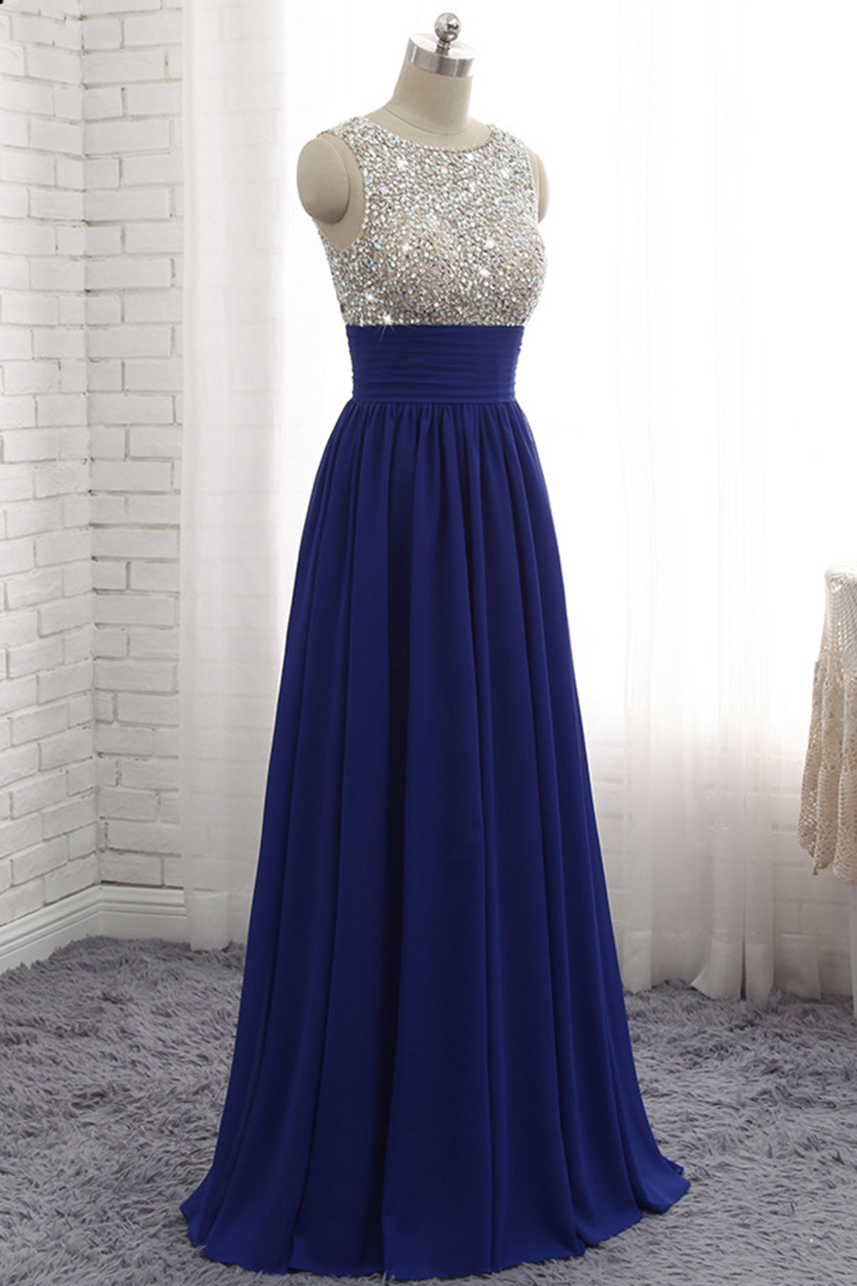 Cheap Prom Dresses By Sweetheartdress Royal Blue Chiffon Sequined Long A Line Prom Dress Bridesmaid Dress