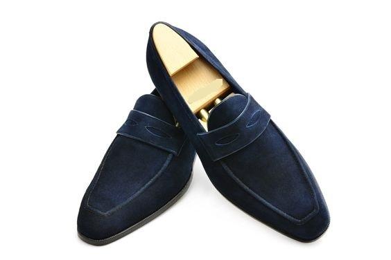 Handmade Men,s Original Navy Blue Suede