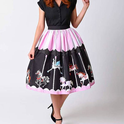 36b0fb99c14 S m l black white pink striped unicorn carousel print a-line sweet gothic  lolita skirt