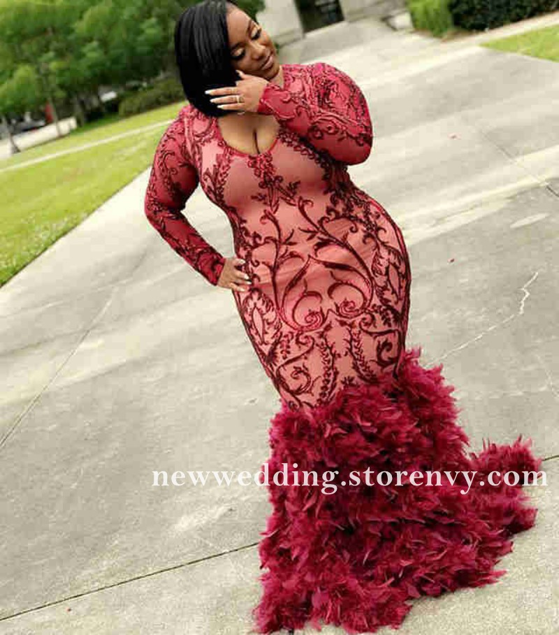 African Style Feather Plus Size Prom Dresses For Black Girls 2k19 Mermaid  Evening Dress Long Sleeve Party Gowns