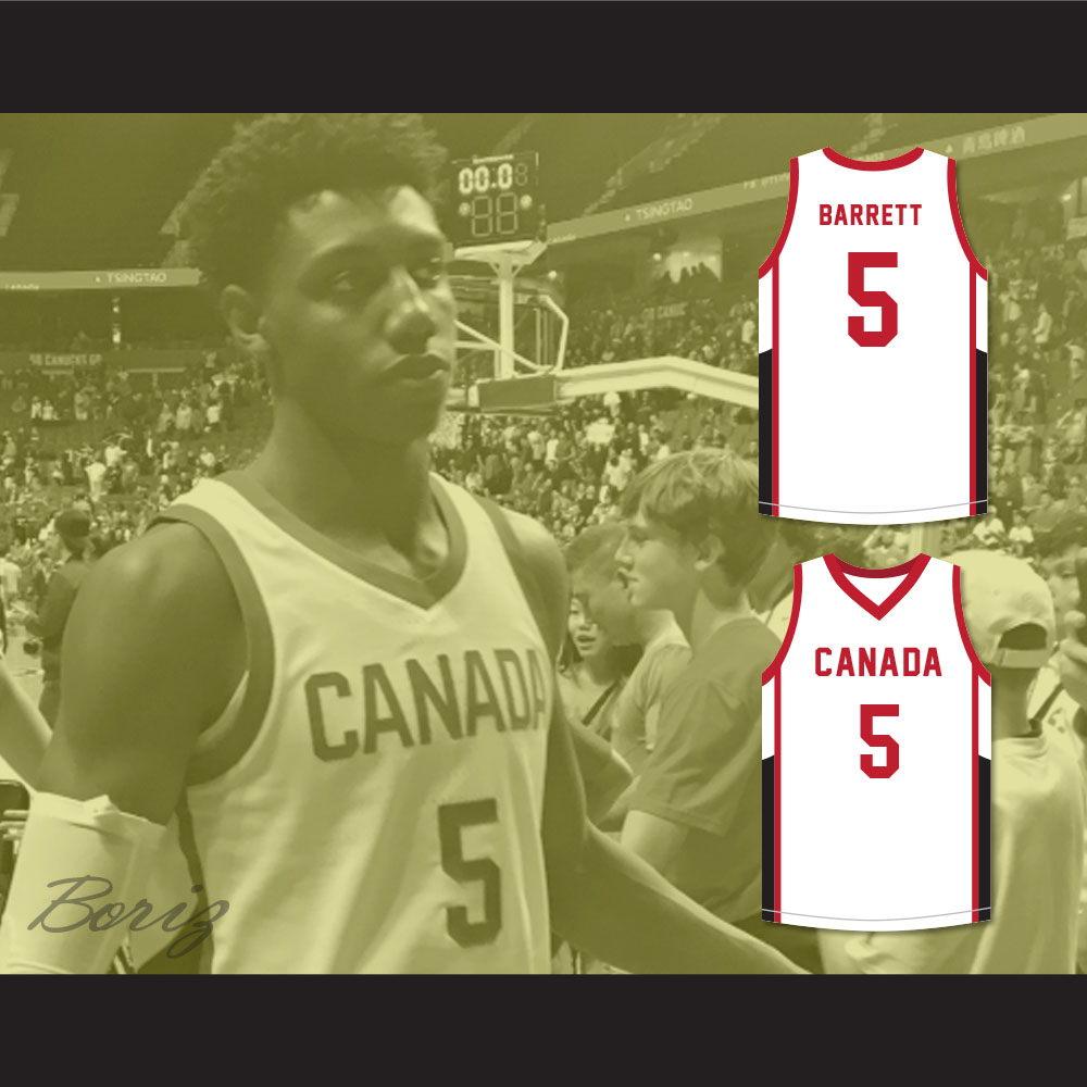 f8092f400 R.J. Barrett 5 Canada White Basketball Jersey on Storenvy