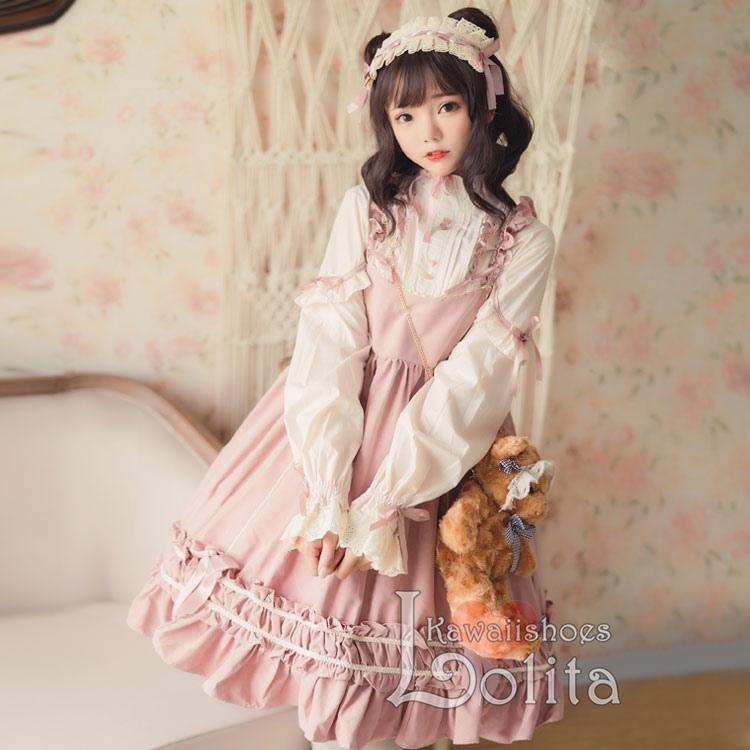 J-fashion Harajuku 3 Colors Kawaii Fake Two Piece Long Sleeve Dress ... 548cbac3b