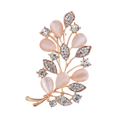 f52bbd4fee8f8 Pink Flower Leaves Crystal Rhinestones Brooches Pins Jewelry 88 · In ...