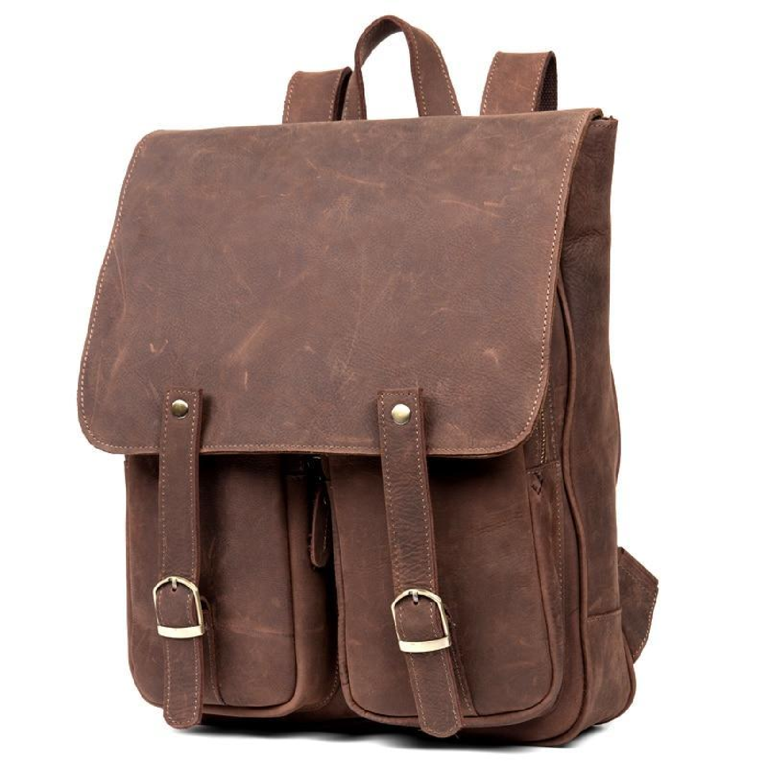 14 Laptop Travel Backpack Bags Cow Leather Men Women Business Solid Black Brown School Book Bag Backpacks Students Big Bag Luggage & Bags