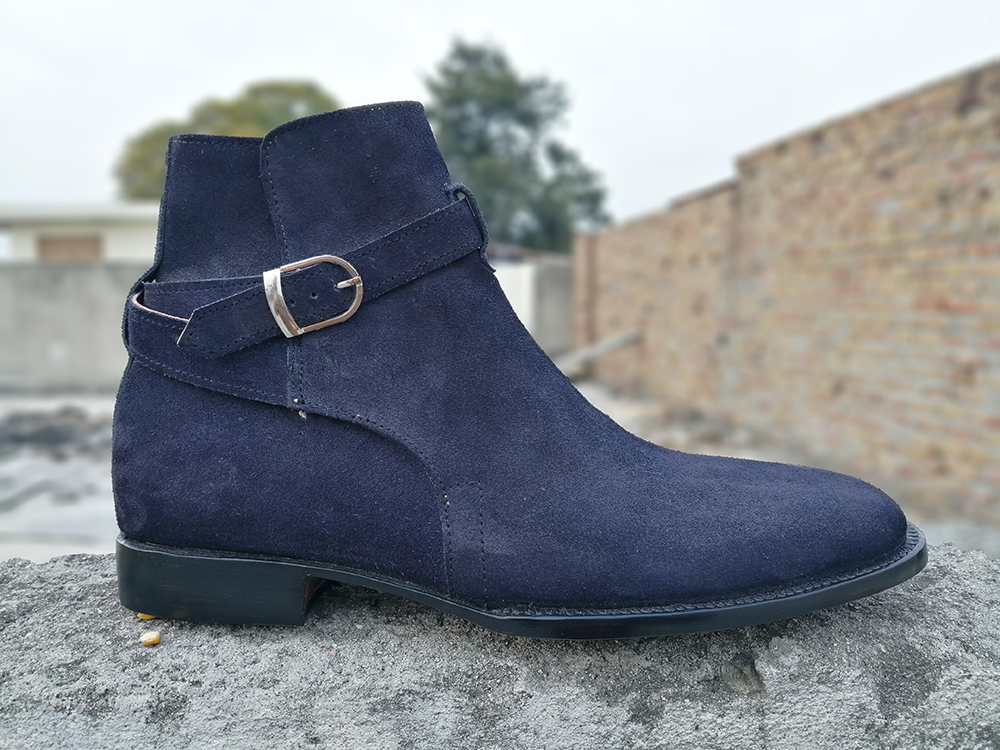 Handmade Men Jodhpurs Boots, Navy Blue Color Formal Casual Boots, Men Ankle Boots from leatherworld2014