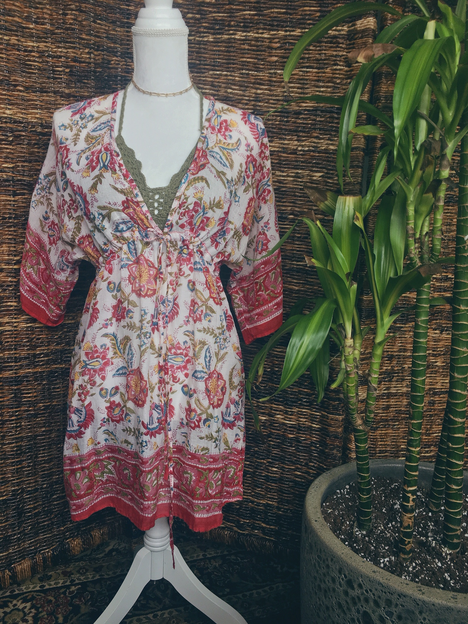 c9eeb34c79 S-L  Floral Tie-Bust Wide Sleeve Tunic  Summer Dress · Blissful ...
