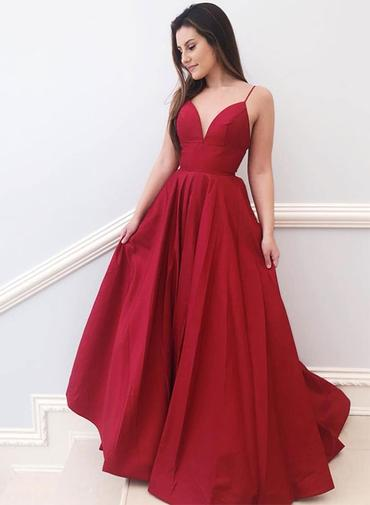 best sell crazy price look out for Simple Red Satin V Neck Long Prom Dress, Red Evening Dress ...
