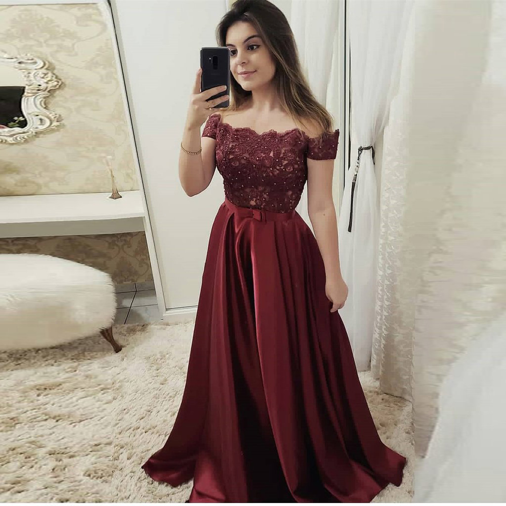 c2c207a3675 2019 Off The Shoulder Prom Dress Burgundy Formal Evening Gown With Lace  Appliques Bodice