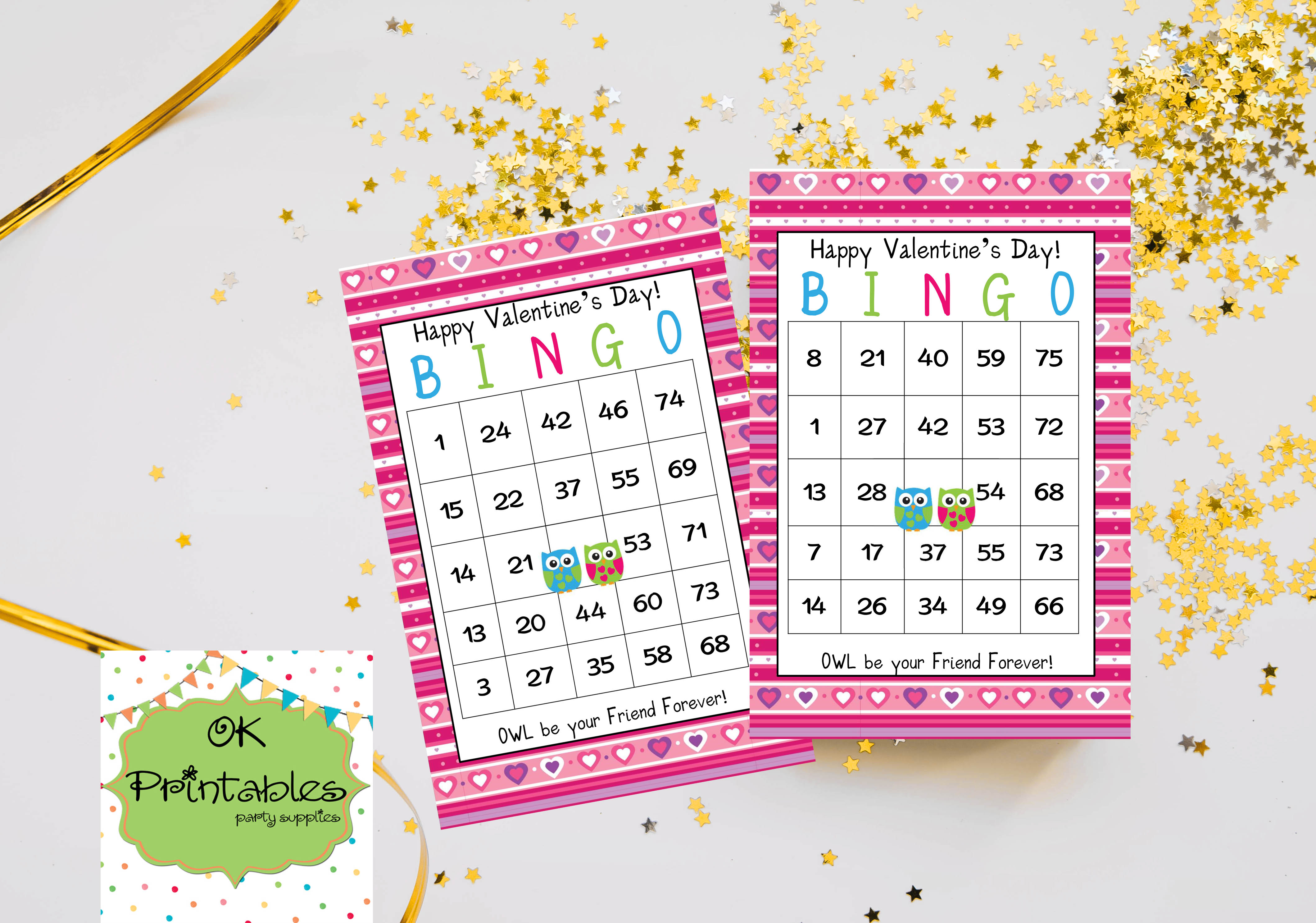 graphic regarding Valentine Day Bingo Cards Printable titled 50 Satisfied Valentine Working day Lovable Owls Bingo playing cards - Printable Match Valentin bought by way of okprintables