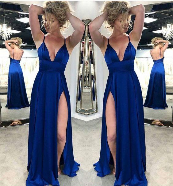 f4e7e3bc91e Royal Blue Satin Side Slit Long Prom Dress Spaghetti Strap V-Neck Prom  Dresses Plus