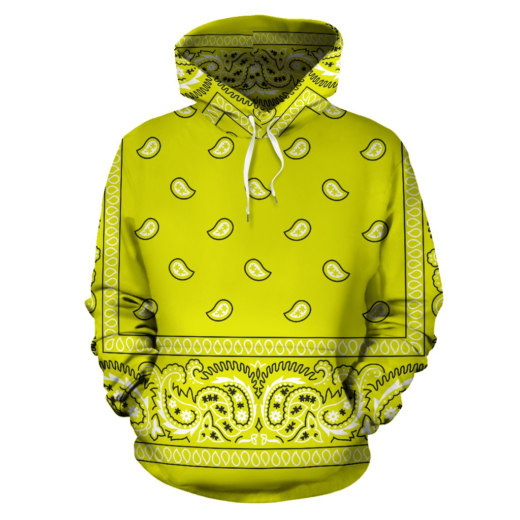 6d9539ee16 Bandana Fever Yellow Bandana Print Pullover Hoodie from Bandana Fever  Designs