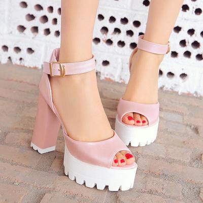 d9e7263564d Free shipping women pu solid peep toe block heel metal buckle belt sandals