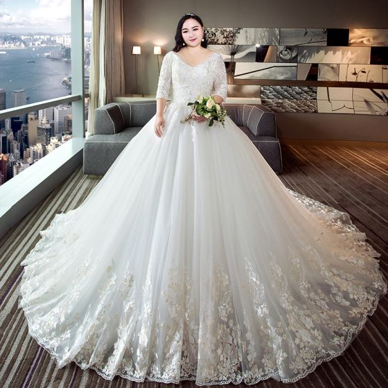 Chic / Beautiful White Ball Gown Plus Size Wedding Dresses 2019 from  Eternally Yours Custom Bridals