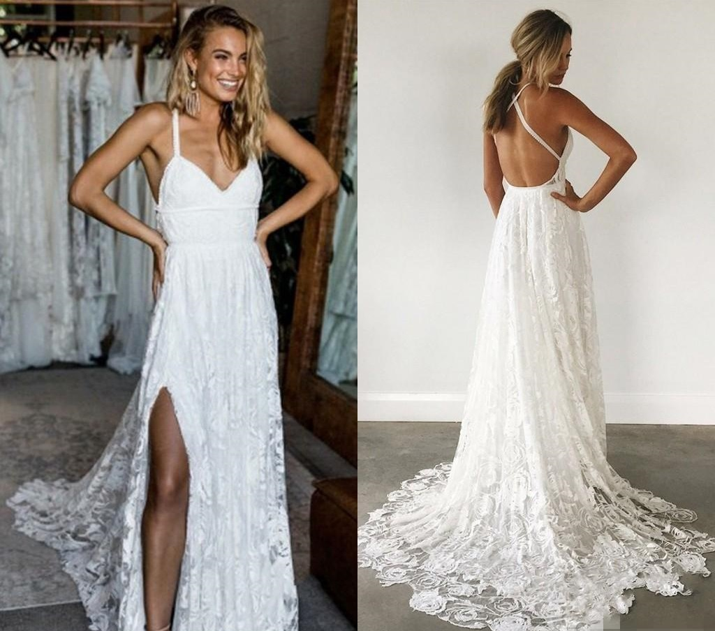 255b359f88f Elegant Lace Back Wedding Dress