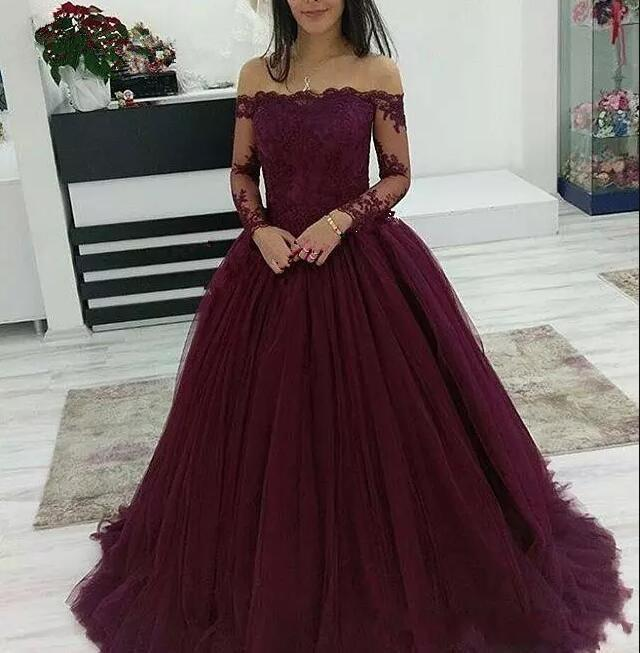 636ccdee3e7 ... 2019 Burgundy Ball Gown Prom Dress Off The Shoulder Tulle Wedding Party Dress  Long Sleeve -