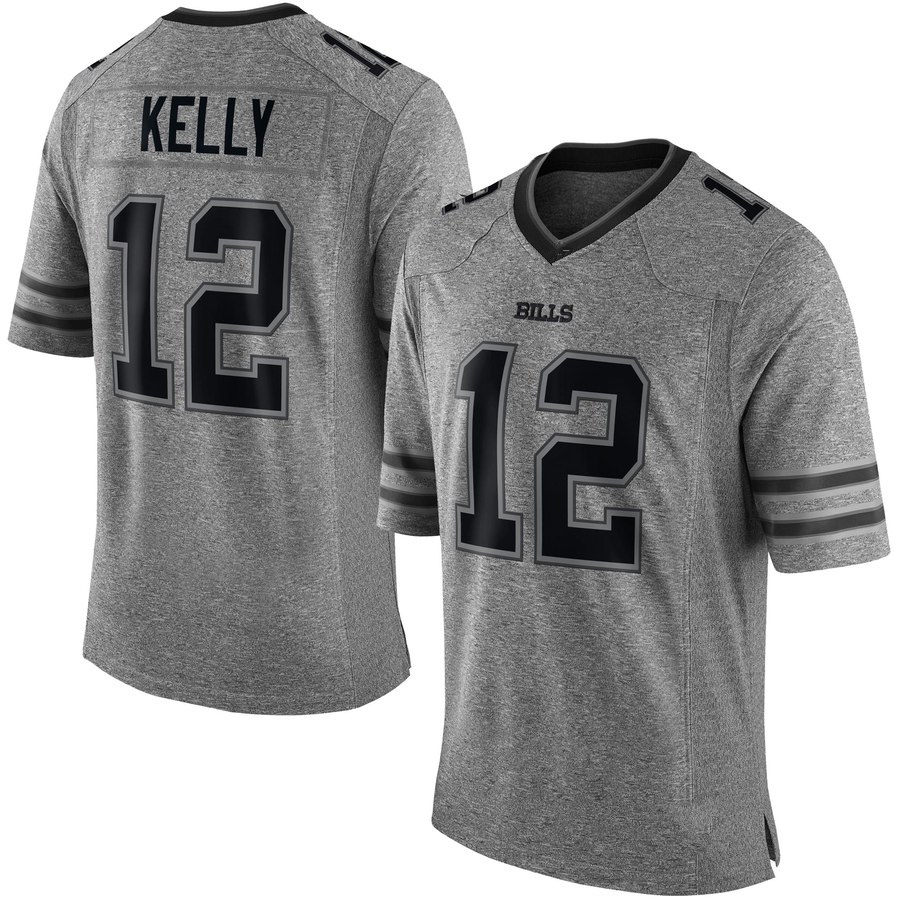 Top Men's Buffalo Bills #12 Jim Kelly Gray Gridiron Gray Limited Jersey  for sale