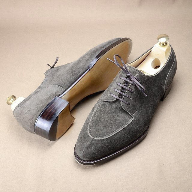 587d0b5f2206bb Handmade Suede Gray Shoes