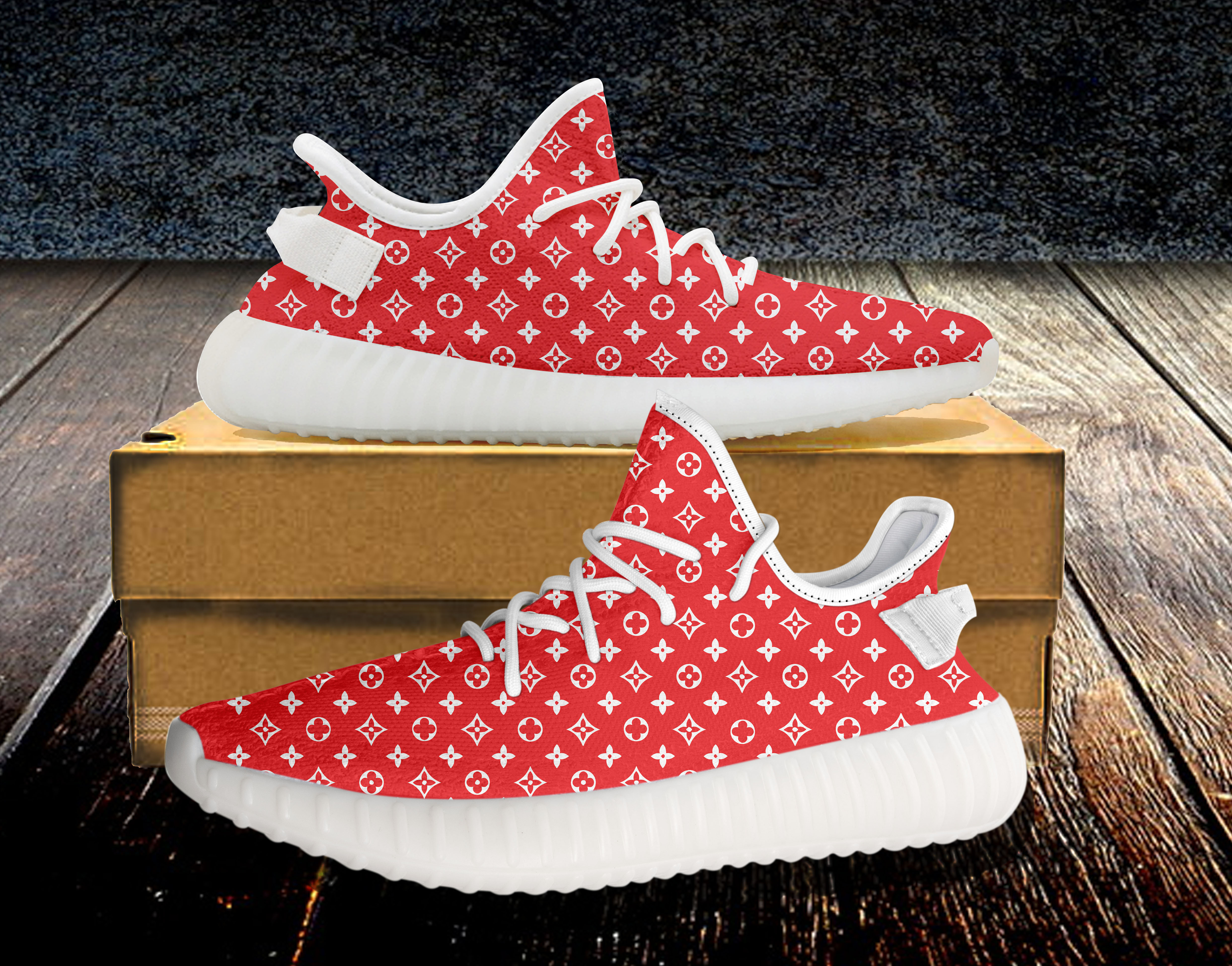 7613f5b60 Red White 350v2 Custom Unisex Running Shoes - Custom shoe