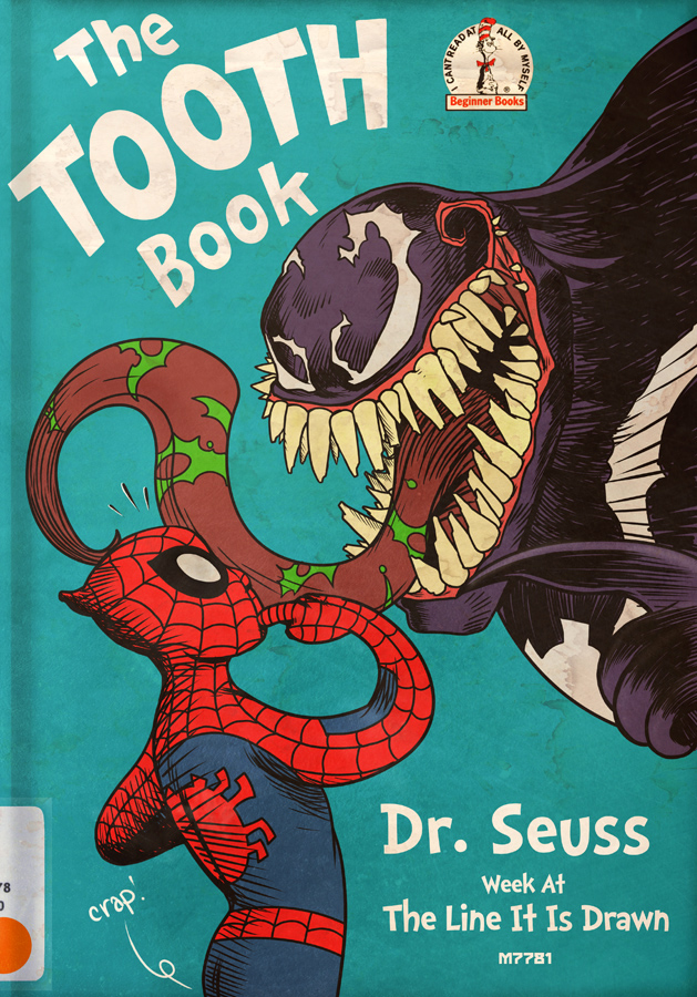 graphic about Dr.seuss Book Covers Printable known as seuss the teeth e-book w/ venom and spider-guy bought by way of m7781 print retail outlet