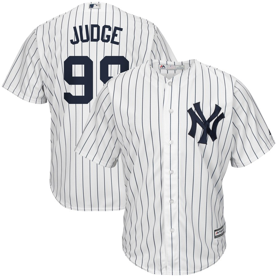 release date abd74 74548 Men's New York Yankees #99 Aaron Judge Jersey Home White Navy Cool Base  Player Jersey from Asoprt