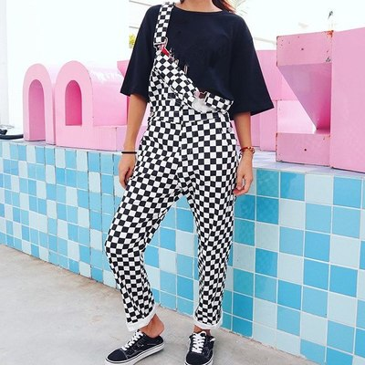 30dbbd4605c51 Checkerboard Overalls (Black White) · Megoosta Fashion · Free shipping  worldwide on all orders