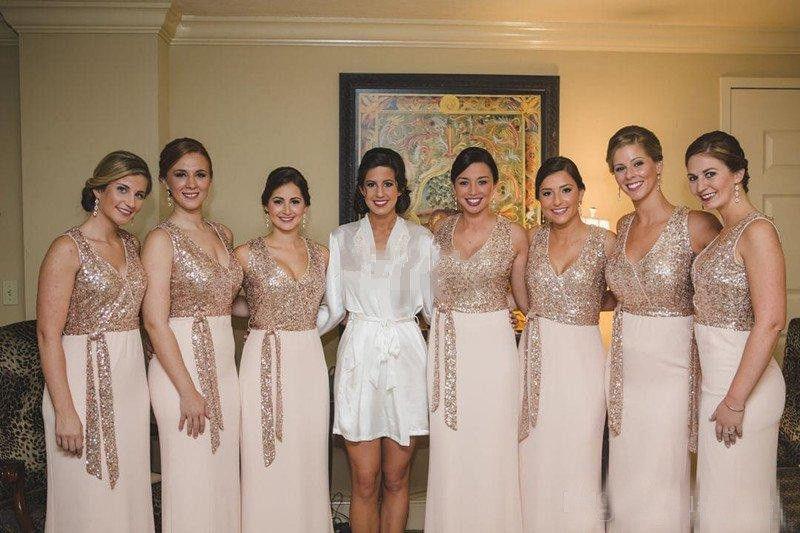 V Neck Bridesmaid Dresses Long Chiffon