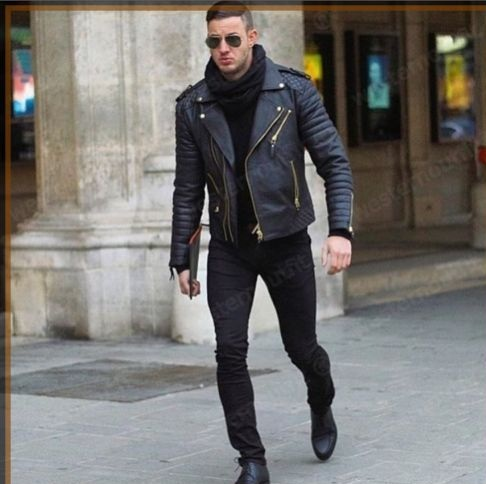 Mens Genuine Real Leather Motorcycle Style Fashion Slim Fit Biker Leather Jacket