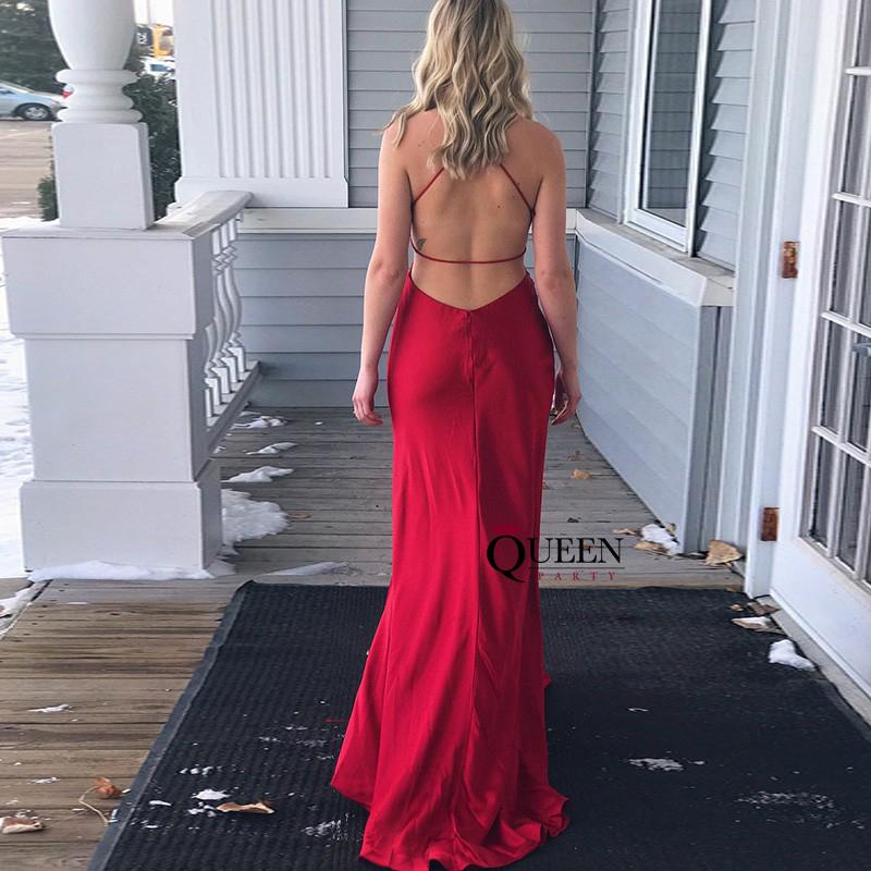 Sexy Silk Satin Wine Red V-Neck Side Slit Formal Gown ...