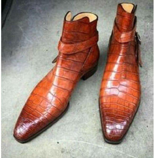 2fefc4ab5e2 Handmade Men Alligator skin Jodhpurs boot, Men Crocodile Texture casual  boots