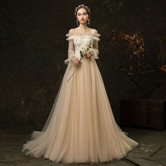Champagne Wedding Dress Off Shoulder Wedding Dress Long Sleeve Wedding Dress Tulle Applique Wedding Dress From Prettypromdress1234