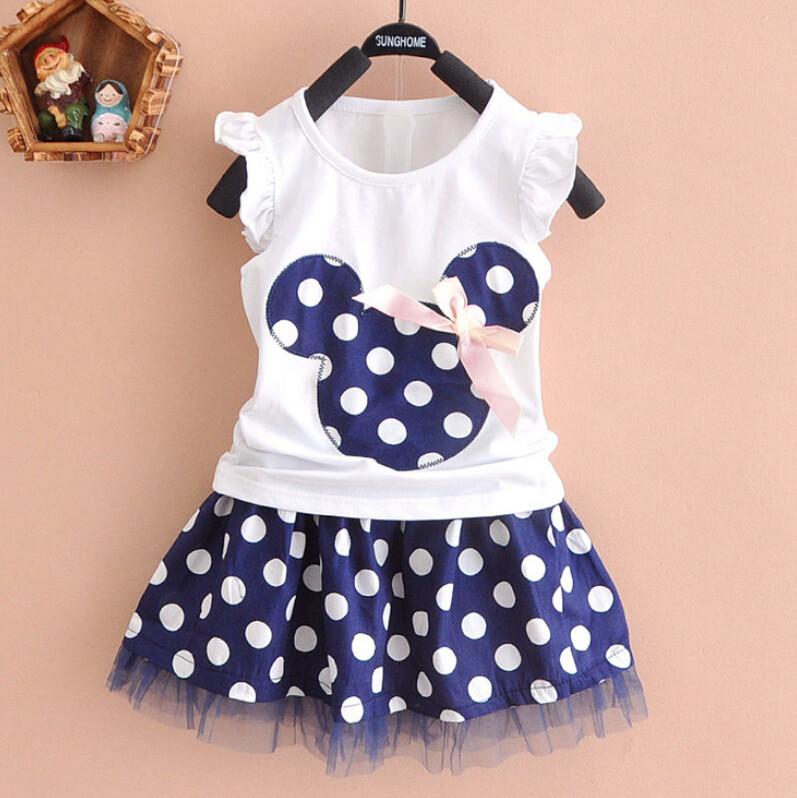 ab98de94e58378 Minnie Mouse Clothes Set Kids Baby Girls Summer Outfits Clothes ...