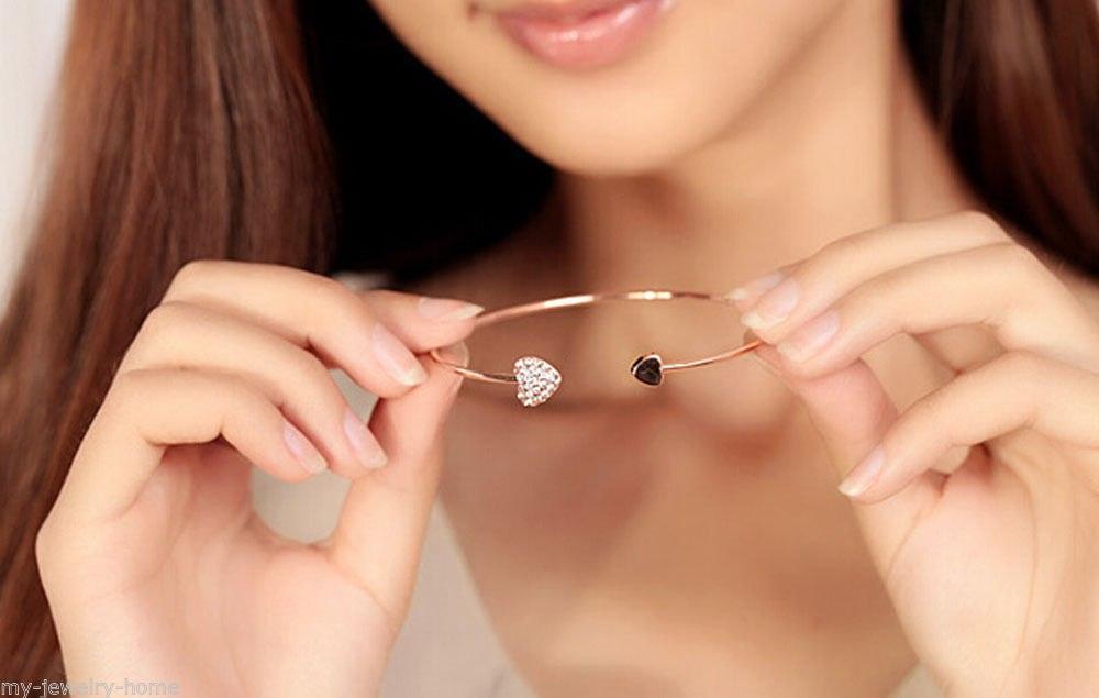 Gold Bangles Bracelets Crystal Heart Bride Bracelet Bangle Love
