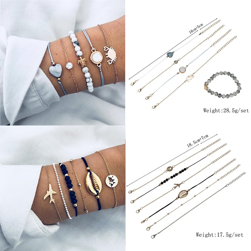 5Pcs/Set Set Women Gold Bracelets JQ Bohemian & Bangles For Color Turtle  Bracelets Map Jewelry Strand Miss Party Fashion