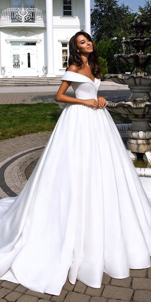 e6e59b297 Fashion forward wedding dresses ball gown off the shoulder wedding dress  simple satin bridal dress LP709