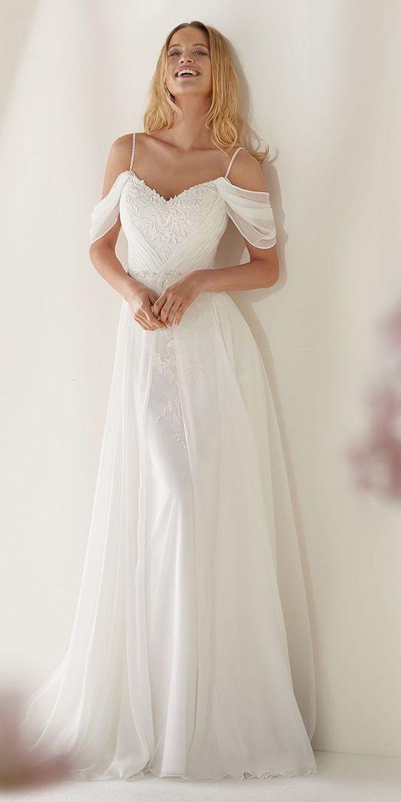 adea64ef955 Awesome White Chiffon Lace Appliques Wedding Dress