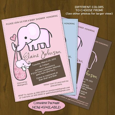 Elephant Baby Shower Invitation · Splashbox Printables ...